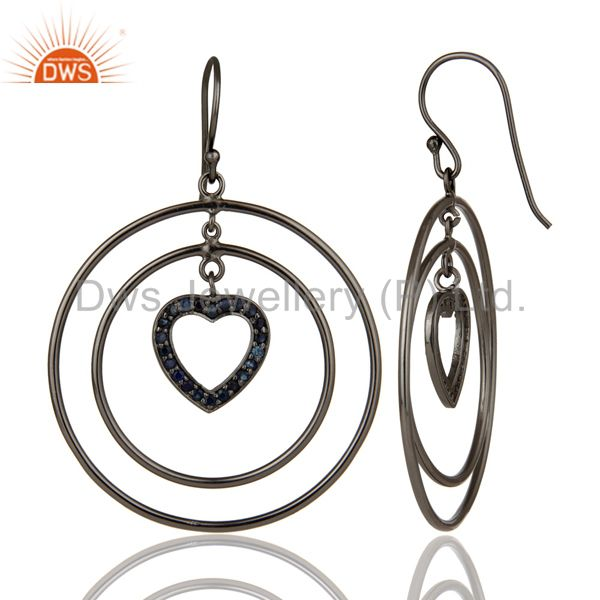 Suppliers Oxidized Sterling Silver Blue Sapphire Heart Design Multi Circle Dangle Earrings
