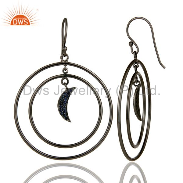 Suppliers Oxidized Sterling Silver Blue Sapphire Half Moon Charm Circle Dangle Earrings