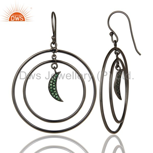 Suppliers Oxidized Sterling Silver Tsavourite Half Moon Charm Circle Dangle Earrings