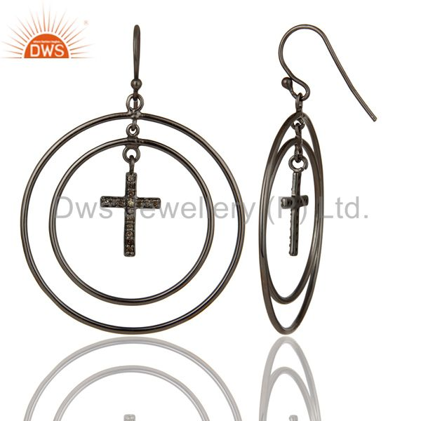 Suppliers Oxidized Sterling Silver Pave Setting Diamond Cross Circle Dangle Earrings