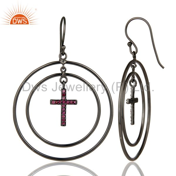 Suppliers Oxidized Sterling Silver Pave Setting Natural Ruby Cross Circle Dangle Earrings