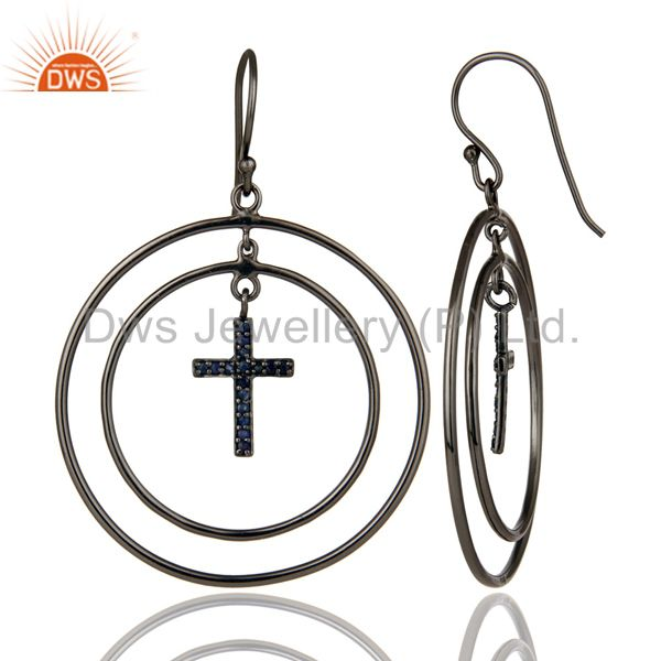 Suppliers Oxidized Sterling Silver Pave Setting Blue Sapphire Cross Circle Dangle Earrings