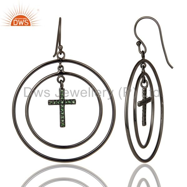 Suppliers Oxidized Sterling Silver Pave Setting Tsavourite Cross Circle Dangle Earrings
