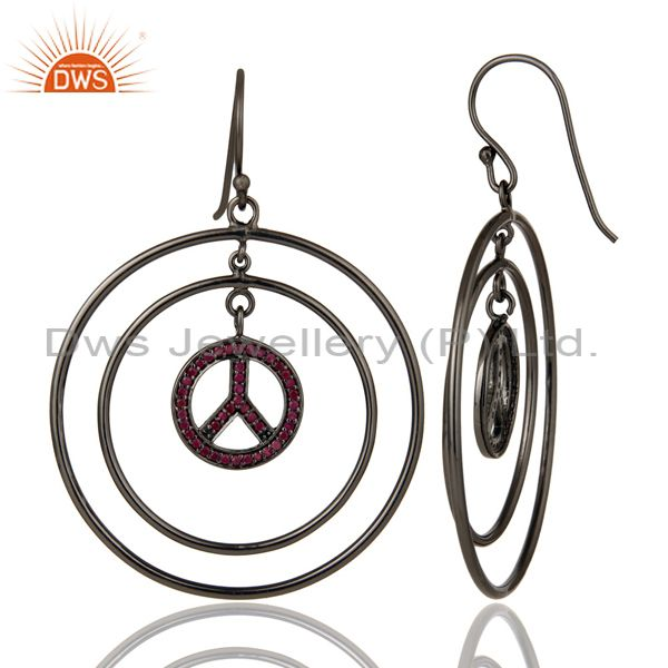 Suppliers Oxidized Sterling Silver Pave Setting Ruby Peace Sign Birthstone Dangle Earrings