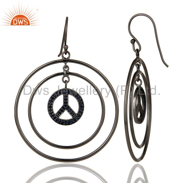 Suppliers Oxidized Sterling Silver Pave Setting Blue Sapphire Peace Sign Dangle Earrings