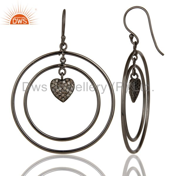 Suppliers Oxidized Sterling Silver Pave Set Diamond Heart Design Circle Dangle Earring