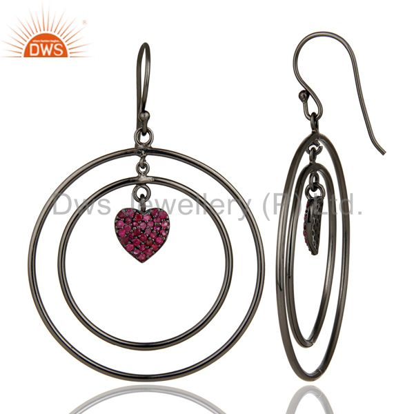 Suppliers Oxidized Sterling Silver Pave Set Ruby Heart Design Circle Dangle Earrings