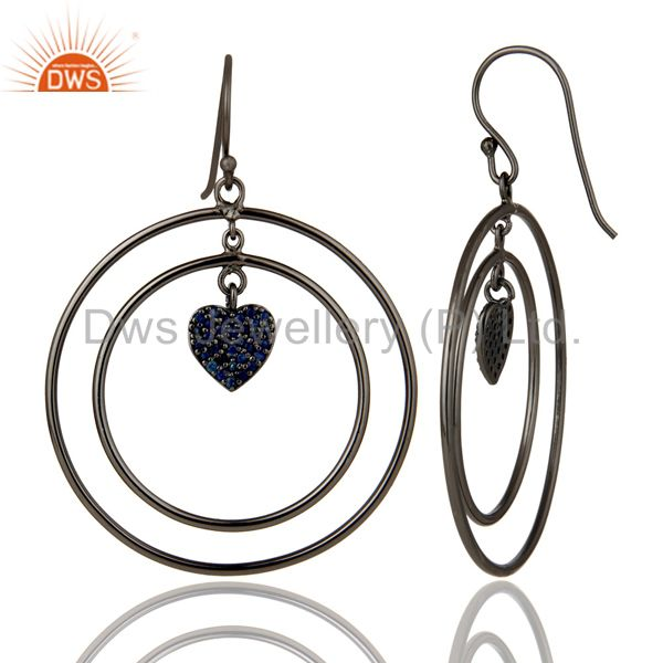 Suppliers Oxidized Sterling Silver Pave Blue Sapphire Heart Design Circle Dangle Earrings