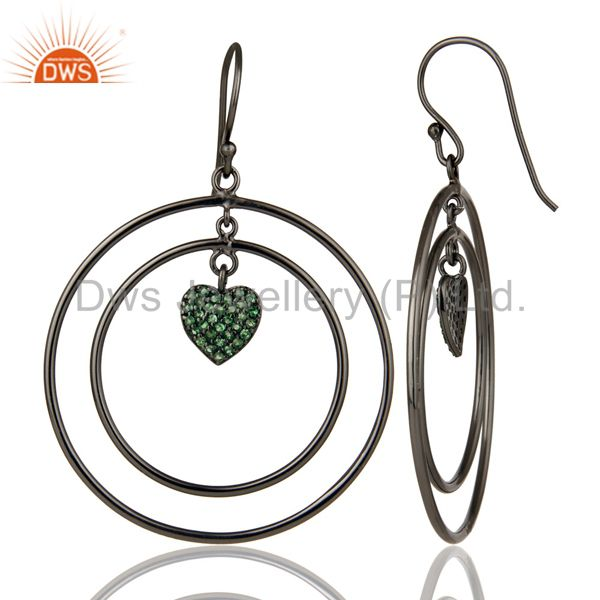 Suppliers Oxidized Sterling Silver Pave Set Tsavorite Heart Design Circle Dangle Earrings