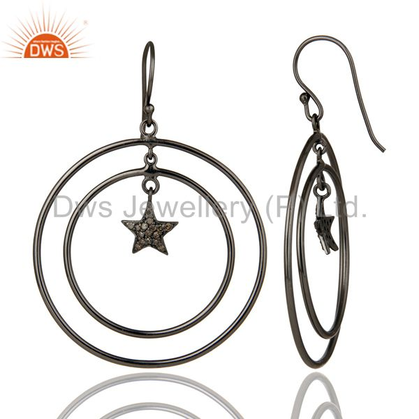 Suppliers Oxidized Sterling Silver Pave Set Diamond Star Design Circle Dangle Earrings