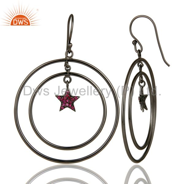 Suppliers Oxidized Sterling Silver Pave Set Ruby Star Design Multi Circle Dangle Earrings