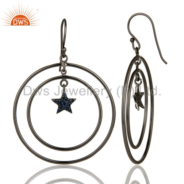 Suppliers Oxidized Sterling Silver Blue Sapphire Star Multi Circle Dangle Earrings
