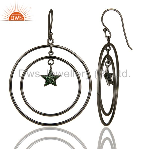 Suppliers Oxidized Sterling Silver Pave Set Tsavorite Star Multi Circle Dangle Earrings