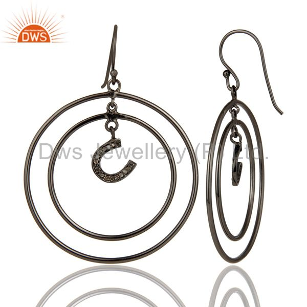 Suppliers Oxidized Sterling Silver Pave Diamond Horseshoes Design Circle Dangle Earring