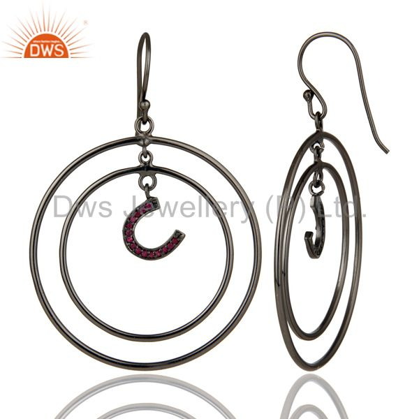 Suppliers Oxidized Sterling Silver Pave Ruby Horseshoes Design Multi Circle Dangle Earring