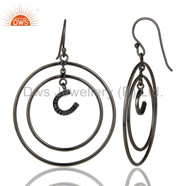 Suppliers Oxidized Sterling Silver Pave Blue Sapphire Horseshoes Circle Dangle Earring