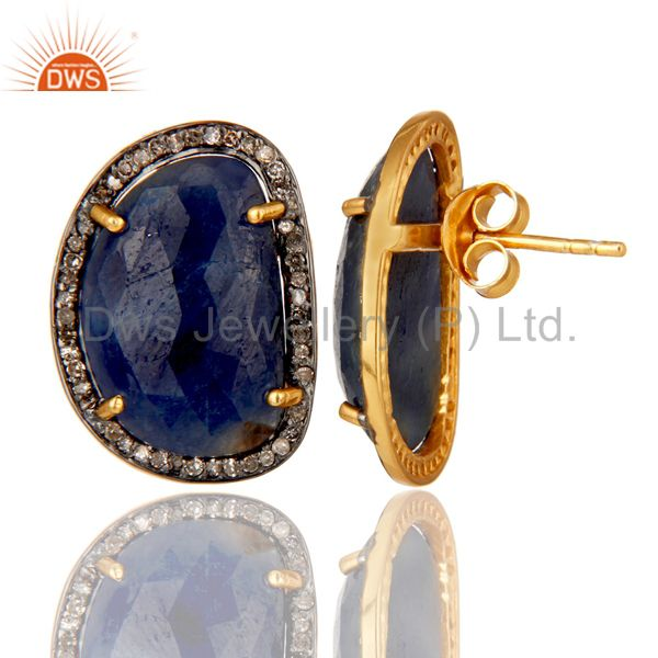 Suppliers 18K Yellow Gold Over Sterling Silver Blue Sapphire and Diamond Stud Earrings
