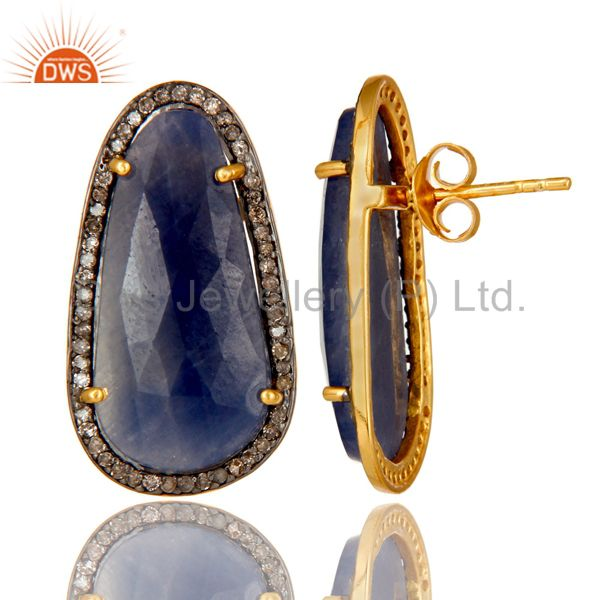 Suppliers 18K Yellow Gold Over Sterling Silver Blue Sapphire Pave Diamond Stud Earrings
