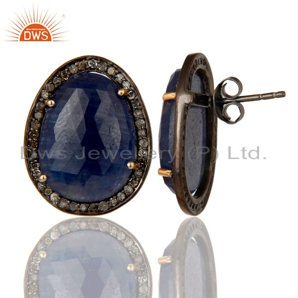 Suppliers 18K Gold Plated 925 Sterling Silver Pave Diamond & Blue Sapphire Studs Earrings