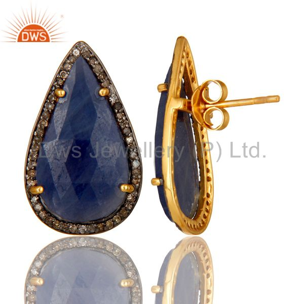 Suppliers 18K Yellow Gold Sterling Silver Pave Set Diamond Blue Sapphire Stud Earrings