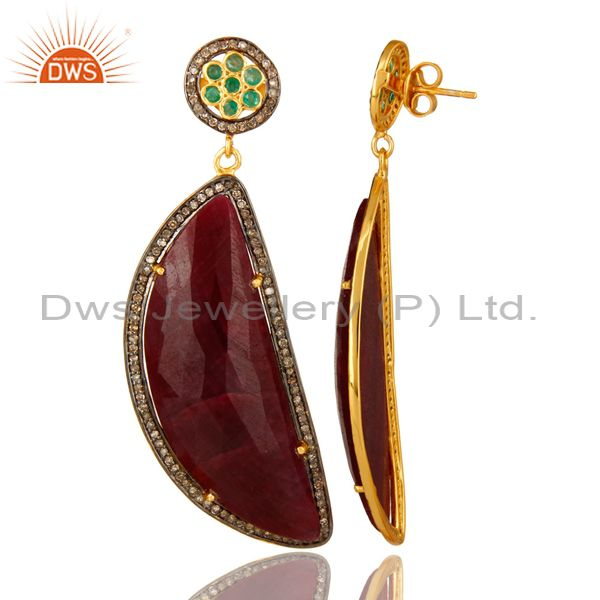 Suppliers 18K Yellow Gold Sterling Silver Pave Diamond And Ruby Slice Dangle Earrings