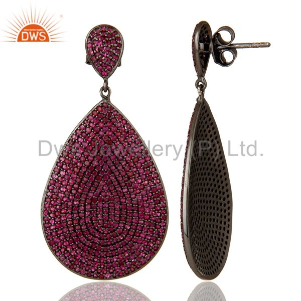 Suppliers Oxidized Sterling Silver Pave Setting Natural Ruby Teardrop Earrings