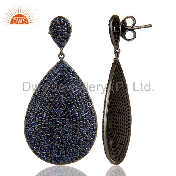 Suppliers Oxidized Sterling Silver Pave Setting Blue Sapphire Teardrop Earrings