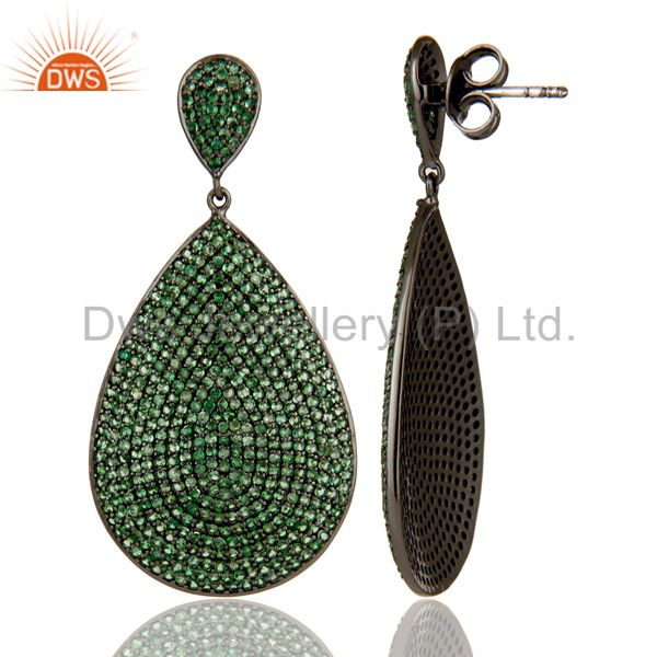 Suppliers Oxidized Sterling Silver Pave Setting Tsavorite Gemstone Teardrop Earrings
