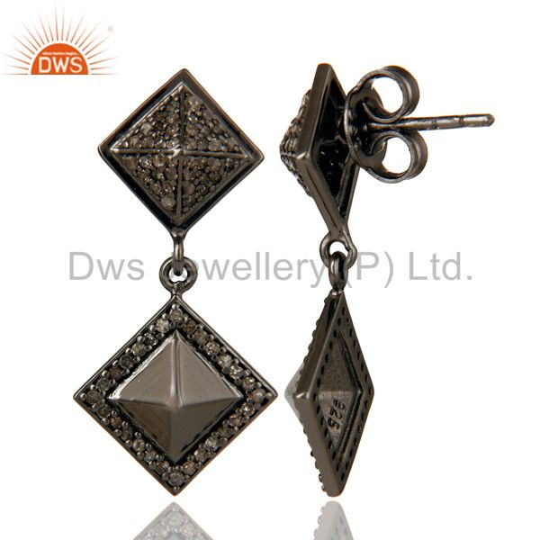 Suppliers Oxidized Sterling Silver Pave Setting Diamond  Pyramid Dangle Earring
