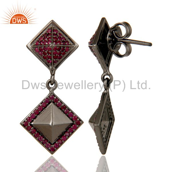 Suppliers Oxidized Sterling Silver Pave Setting Ruby Birthstone Pyramid Dangle Earring