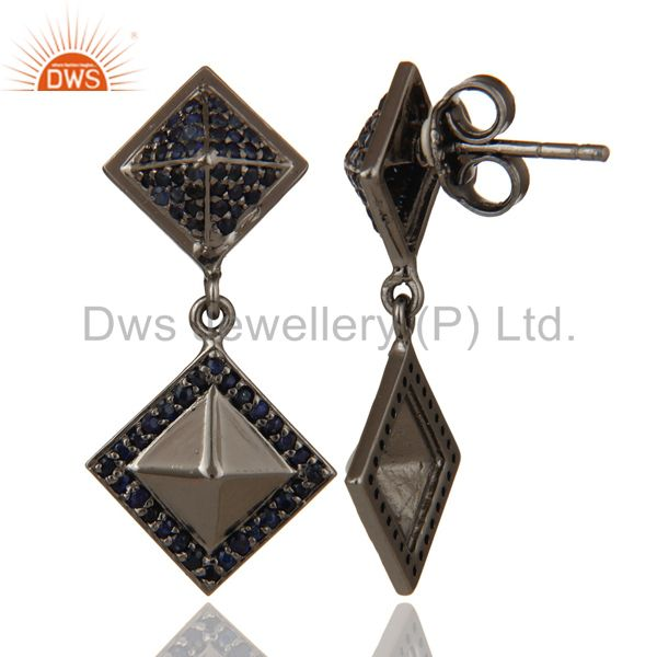 Suppliers Oxidized Sterling Silver Pave Setting Blue Sapphire Pyramid Dangle Earring