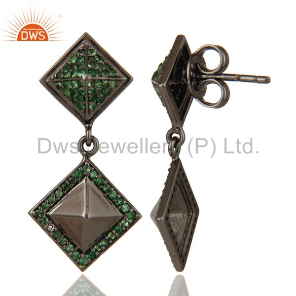Suppliers Oxidized Sterling Silver Pave Setting Tsavourite Pyramid Dangle Drop Earring