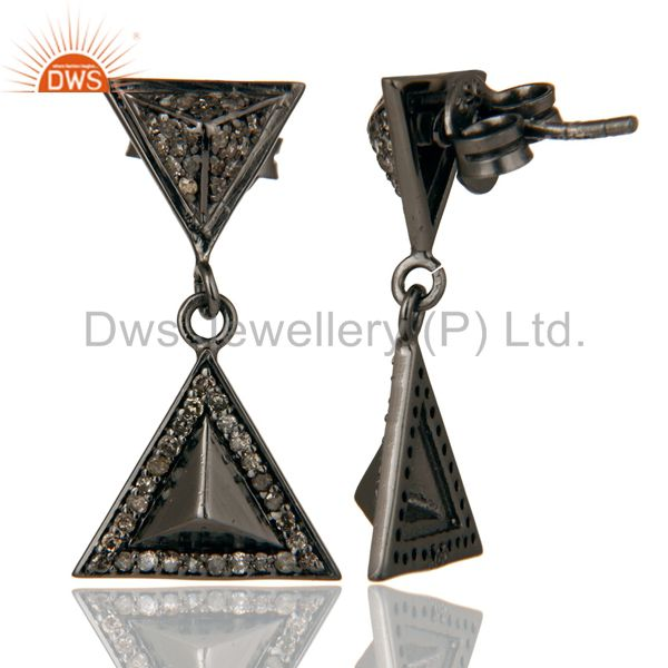 Suppliers Pave Setting Diamond Oxidized Sterling Silver Pyramid Dangle Drop Earring