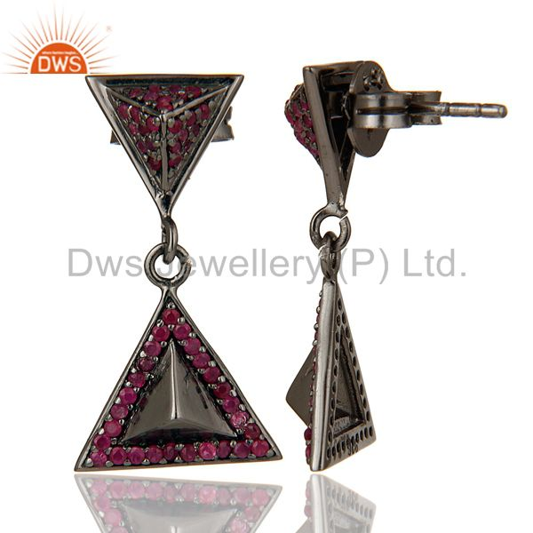 Suppliers Pave Setting Ruby Oxidized Sterling Silver Pyramid Dangle Drop Earring