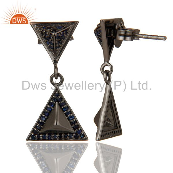 Suppliers Pave Setting Blue Sapphire Oxidized Sterling Silver Pyramid Dangle Drop Earring