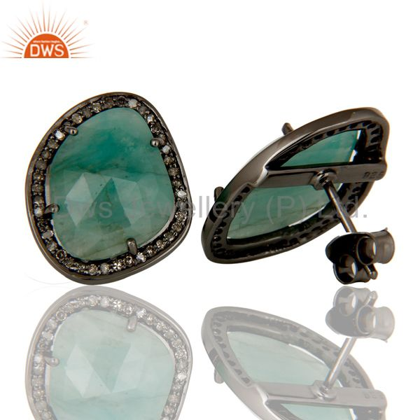Suppliers Emerald and Diamond Black Oxidized Sterling Silver Stud Earring