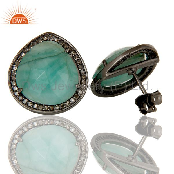 Suppliers Diamond and Emerald Black Oxidized Sterling Silver Stud Earring