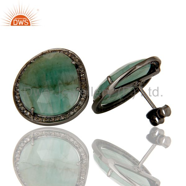 Suppliers Emerald and Diamond Sterling Silver Black Oxidized Stud