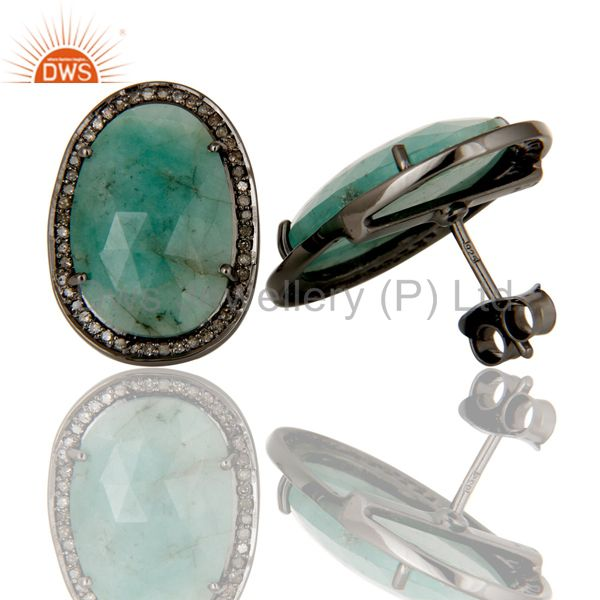 Suppliers Diamond and Emerald Black Oxidized Sterling Silver Earring Stud