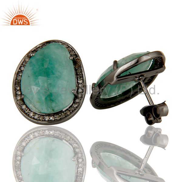 Suppliers Diamond and Emerald Sterling Silver Black Oxidized Earring Stud