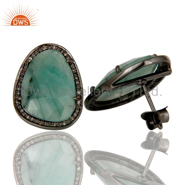 Suppliers Black Oxidized Emerald and Diamond Sterling Silver Earring Stud