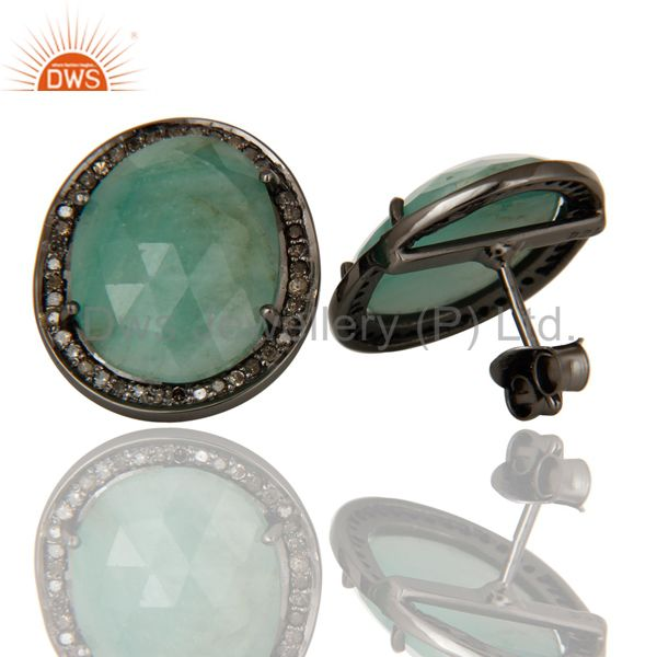 Suppliers Oxidized Sterling Silver Diamond and Emerald Stud Earring