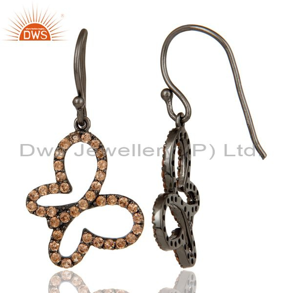 Suppliers Spessartite with Black Oxidized Sterling Silver Butterfly Earring