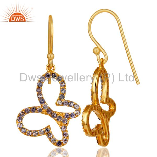 Suppliers Tanzenite Stone 18K Gold Plated Sterling Silver Butterfly Earring