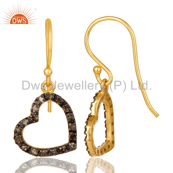 Suppliers Pave Diamond 18K Gold Plated Sterling Silver Heart Shape Earring