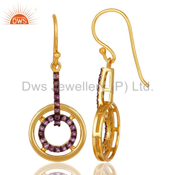 Suppliers Amethyst 18K Gold Plated Sterling Silver Gemstone Drop Earring