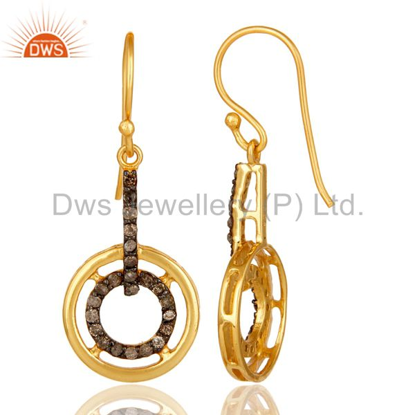 Suppliers 18K Yellow Gold Plated 925 Sterling Silver Round Pave Diamond Earrings Jewelry