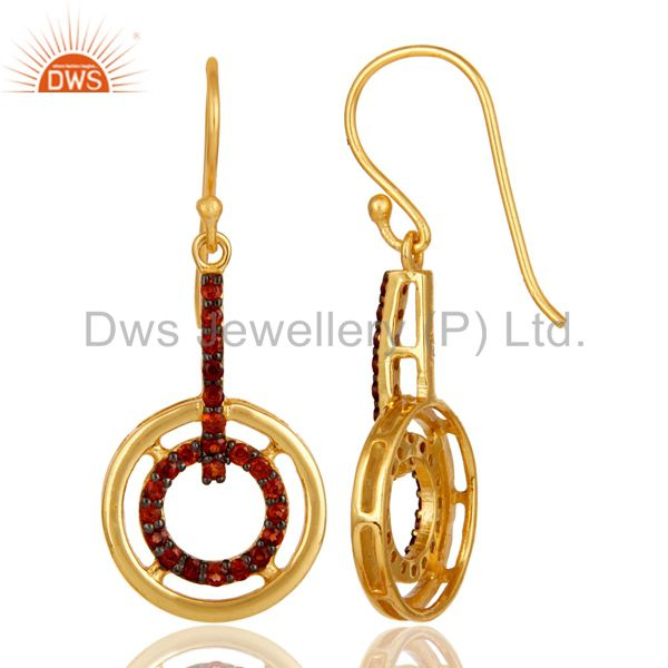 Suppliers Garnet and 18K Gold Plated Sterling Silver Gemstone Drop Earring