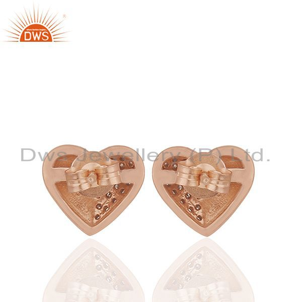 Suppliers Pave Diamond Heart Design Rose Gold Plated Silver Stud Earrings