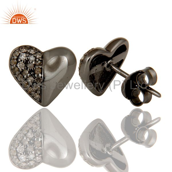 Suppliers Diamond and Black Oxidized Sterling Silver Heart Shape Stud Earring